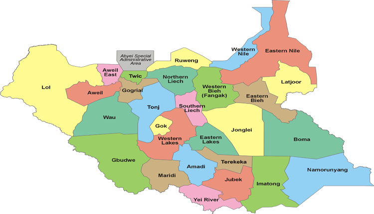 Sud Sudan cartina