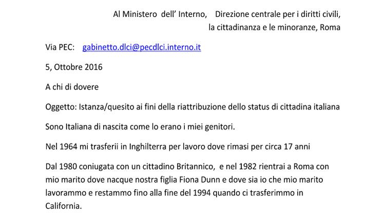 cittadinanza italiana anna ludovico dunn